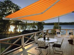 Markilux 1650 Patio Awning Orange Yellow Stripe