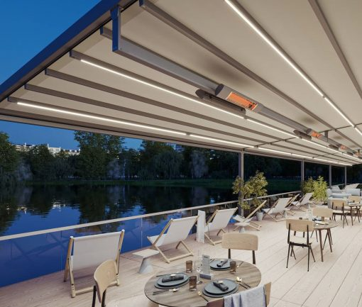 Markilux Pergola Stretch Awning with LED Lighting and Heaters