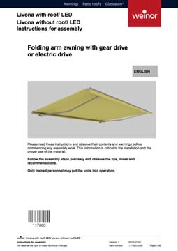 Weinor Livona Assembly Instructions Cover